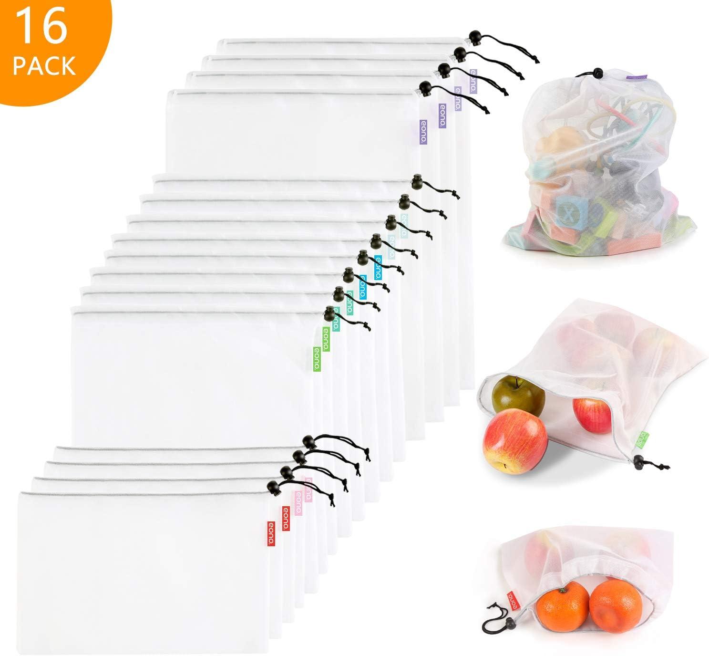 Eono by Amazon - Bolsas Compra Reutilizables Ecológicas Bolsa de Malla para Almacenamiento Fruta Verduras Juguetes Lavable y Transpirable 3 Diversos Tamaños, 16 Pcs (4L+8M+4S)