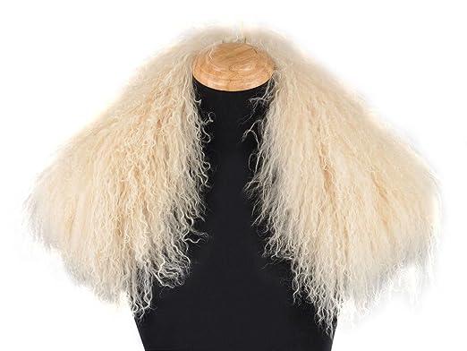 Ferand - Bufanda de Lujo Desmontable Cuello de Piel de Cordero de Mongolia Auténtica para Abrigo de Mujer Beige: Amazon.es: Ropa y accesorios
