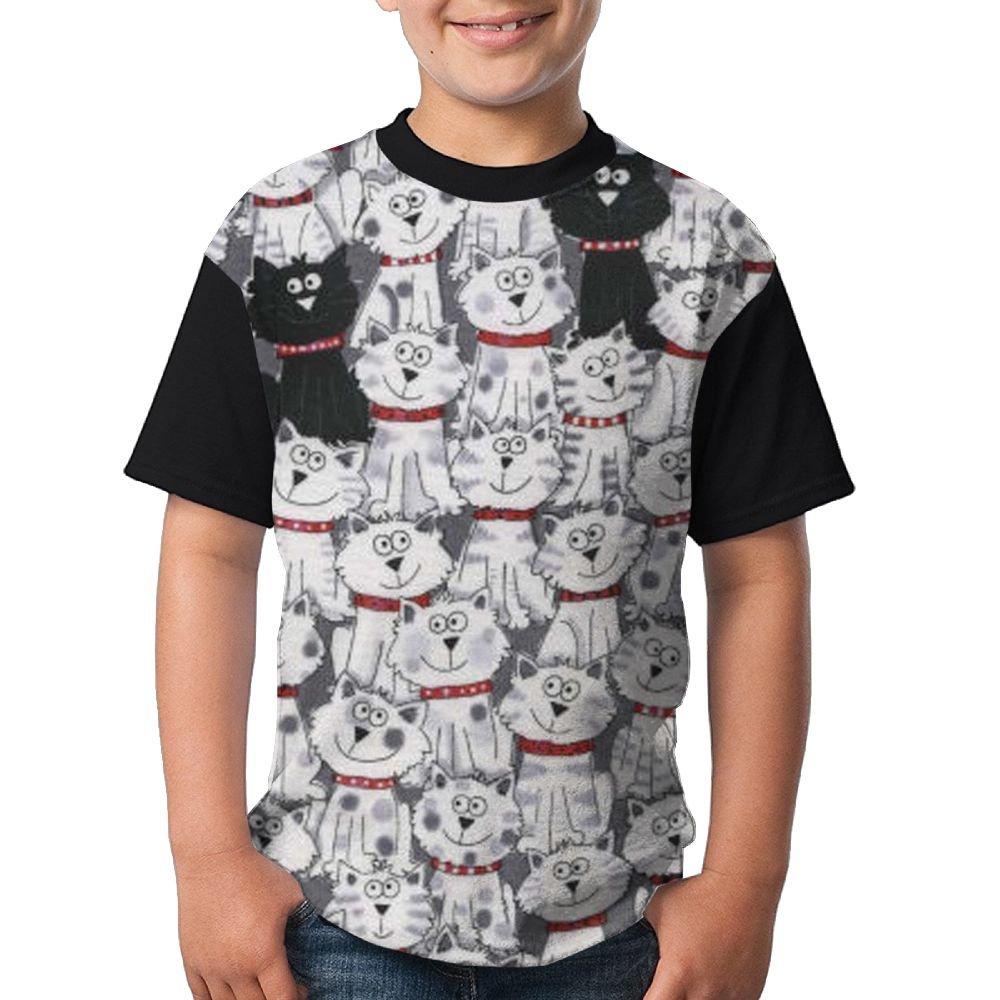 White Black Cat Child Running Shirts 3D Printed Tee Round Top Medium