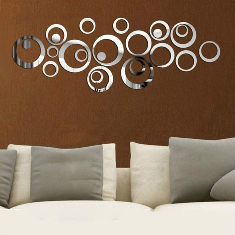 KISSBUTY Mirror Wall Stickers, 24 PCS Circle Mirror Wall Decals Crystal Acrylic Removable Mirror Wall Stickers Wall Decoration Murals for Home Living Room Bedroom Decor