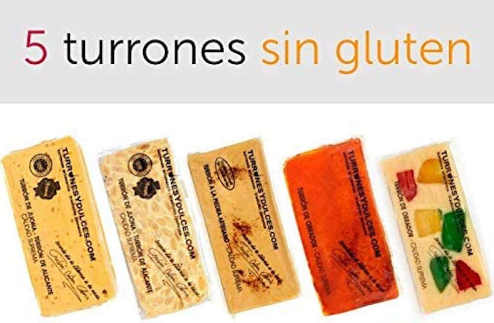 Lote de 5 Turrones artesanos, Sin Gluten (celiacos). 1,5 Kg - Turrones Fabián - Jijona blando, Alicante duro, Piedra, Yema Tostada, de Frutas. Denominación de Origen Jijona-Alicante.: Amazon.es: Alimentación y bebidas