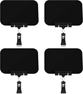 Mlici Black Chalkboard Clips 4 Pack Retangle Pop Clip-on Style Sign Holder, Repeatable Food Label Display Rotating Chalkboard Signs Table Clips for Price Tag Note Supermarket Shelf Merchandise