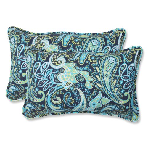 Outdoor Throw Pillows Paisley (Pillow Perfect Outdoor Pretty Paisley Rectangular Throw Pillow, Navy, Set of 2)