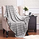 "Knitted Throw Blanket 100% Acrylic Soft Couch Cover Cozy Sofa Knit blanket - Gery, 50""x60"" by Bedsure"