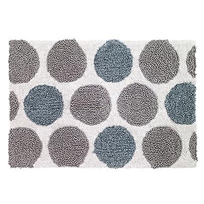 Avanti Dotted Circles White/Blue/Grey Cotton 20 x 30-inch Bath Rug - Material: Cotton Care Instruction: Machine Wash - bathroom-linens, bathroom, bath-mats - 61v%2BMSNO8VL. SS400  -