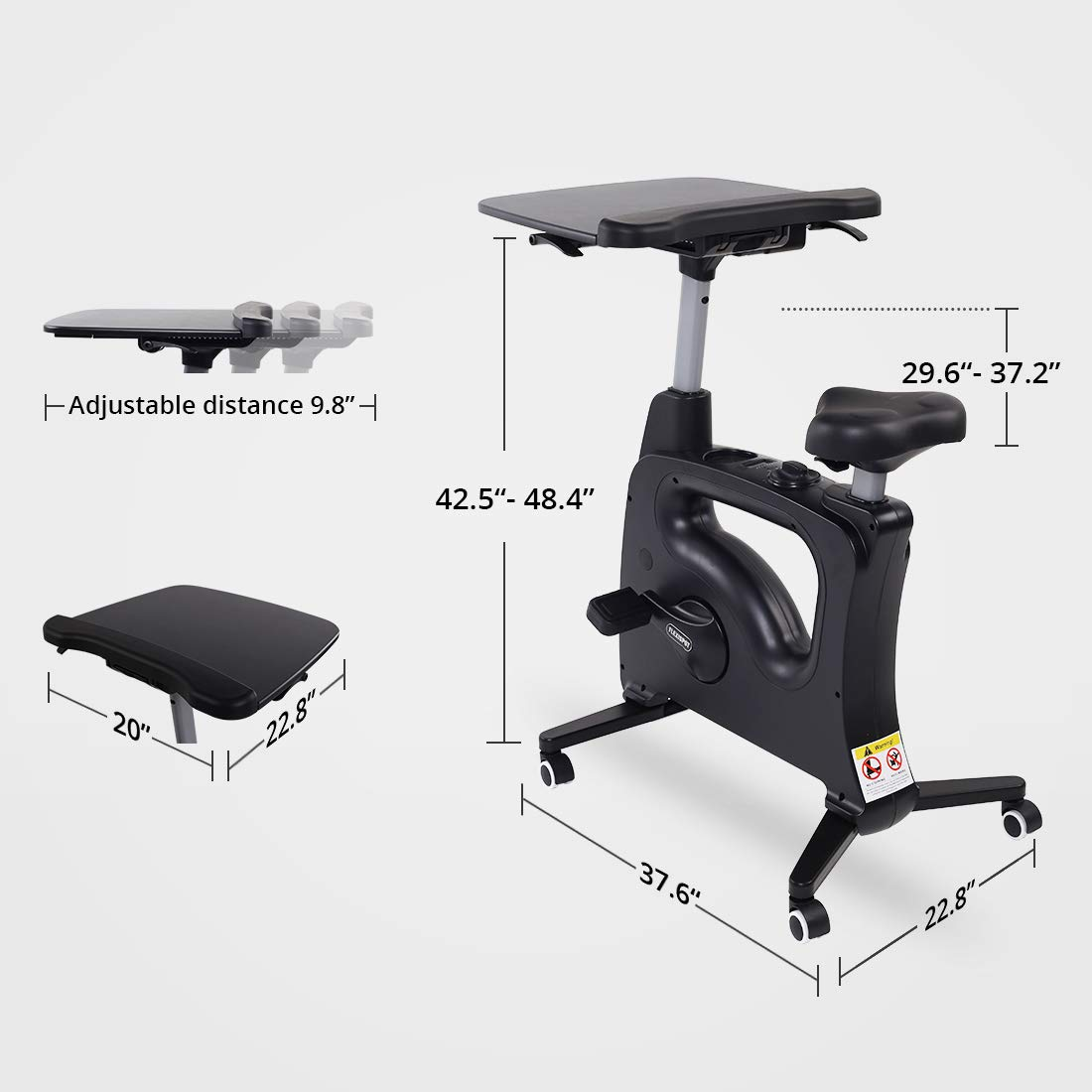 FLEXISPOT Home Office Upright Stationary Fitness Exercise Cycling Bike Height Adjustable Standing Desk - Deskcise Pro Black by FLEXISPOT (Image #5)