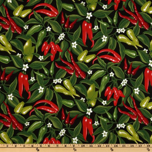 Robert Kaufman Salsa Picante Red Hot Peppers Black Fabric by The Yard,
