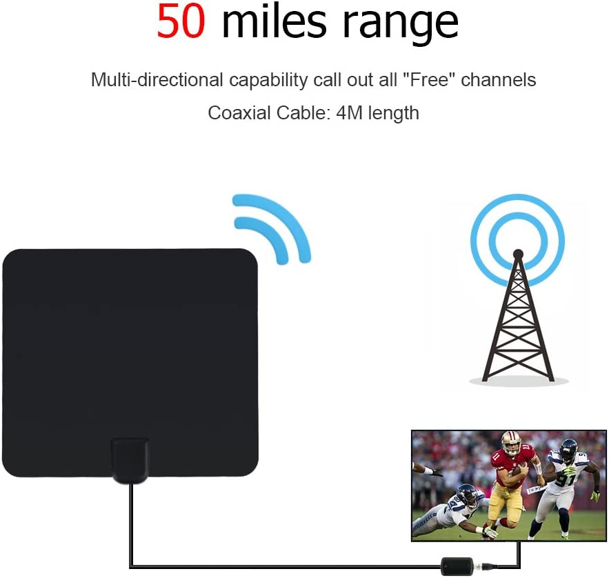 OVERBOX Antena de TV Interior, Antena HDTV Canales Gratis con Amplificador de Señal, 80KG/50 Millas Alta Recepción, Cable Coaxial de 13 pies, USB TV Tuner/DVB-T/FM Antena Digital TV Portatil: Amazon.es: Electrónica