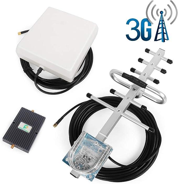 Proutone Amplificador de Señal Banda Dual gsm 900MHz 3G WCDMA 2100MHz con Panel Antena Interior y Yagi Antena Exterior con Cable de 10m para Uso de ...