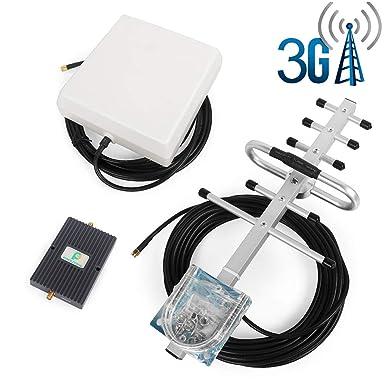 Proutone Amplificador de Señal Banda Dual gsm 900MHz 3G WCDMA 2100MHz con Panel Antena Interior y
