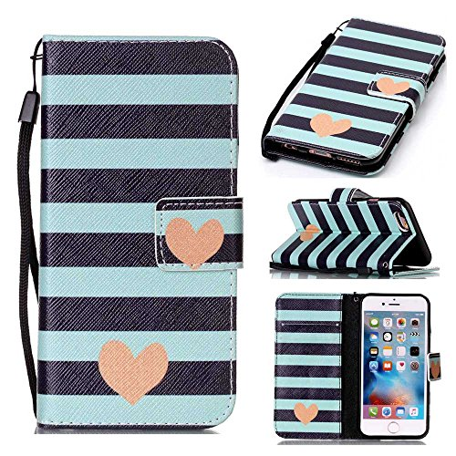 (XYX Wallet Case for iPhone 6 Case,iPhone 6S,[Blue Striped Heart][Double Sided Design][Stand][Wallet][Card Slot][Wrist Strap Flip Folio] Carry-All Case for iPhone 6/6S)
