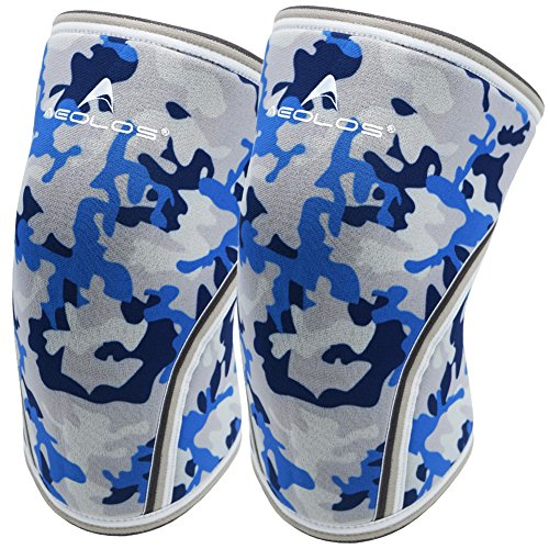 Knee Sleeves (1 Pair), 7mm Thick Compression Knee Braces Offer Strong Support for Weightlifting | Cross Training | Powerlifting | Bodybuilding | Squats | Gym and Other Sports (Blue Camo, X-Large)