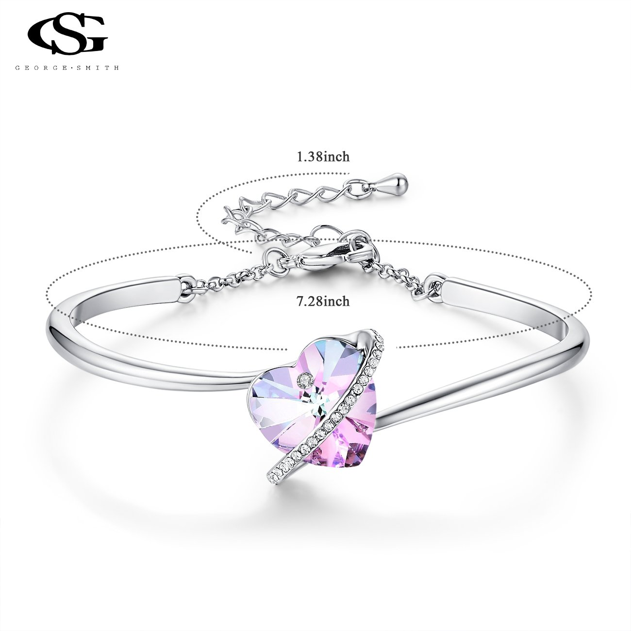 "GEORGE · SMITH ""Love Echo""7inches Adjustable Blue Purple Heart Bangle Bracelet with Swarovski Crystals Birthday Gifts for Womens Mom Wife (Purple) by GEORGE · SMITH (Image #6)"