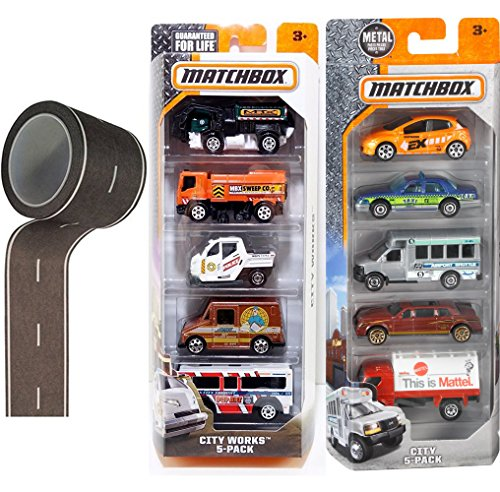 City Works Matchbox 10 Pack & Road tape Black & White Roll City Collection Tow Truck / City Bus / Cabs / Meter Made / Mail delivery / Sanitation / Food Vendor (Diecast Hauler Collectible)