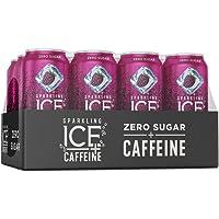 Sparkling Ice +Caffeine Black Raspberry Sparkling Water, with Antioxidants and Vitamins, Zero Sugar, 16 fl oz Cans (Pack…