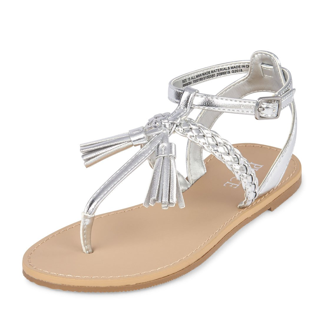 The Children's Place Girls' BG Tassle Candy Sandal, Silver, Youth 11 Youth US Big Kid
