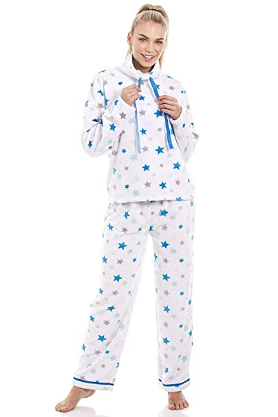Camille Conjunto de Pijama para Mujer Forro Polar Supersuave Estampado de Estrellas Azules y Grises - Blanco: Amazon.es: Ropa y accesorios