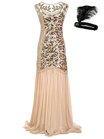 c65173ba0c General Women  s 1920s Sequin Maxi Long Evening Prom Party Dress (Beige