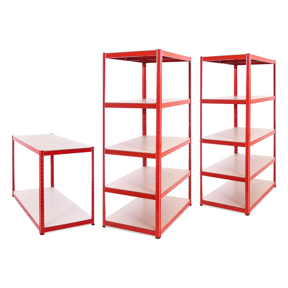 Heavy Duty 1325KG Capacity Extra Deep Garage Shed Storage Shelving Unit Red 5 Tier 180cm x 90cm x 60cm 5 Year Warranty 265KG Per Shelf