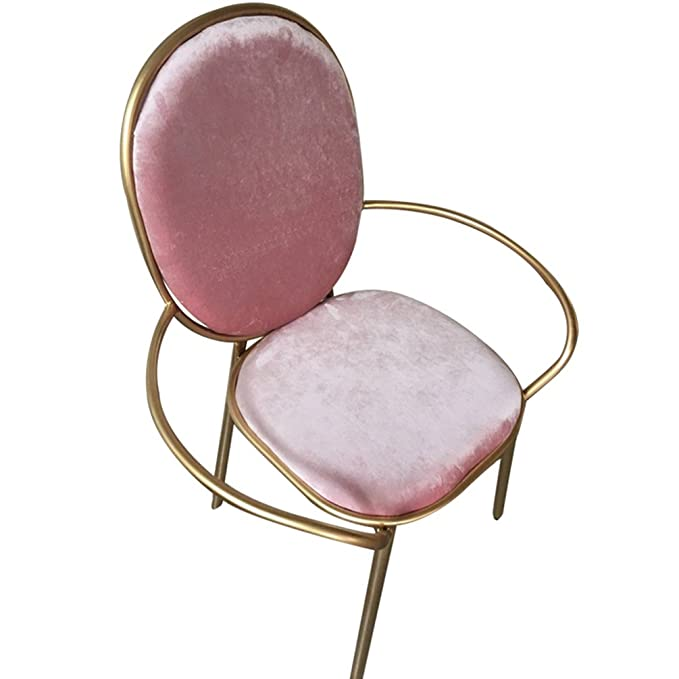 Amazon.com: Decorativo taburete, color rosa silla de hierro ...