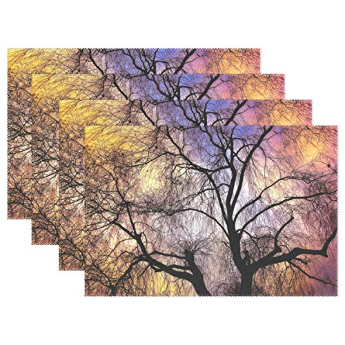 Weeping Willow Willow Tree Branch Bare Tree Placemats Set Of 4 Heat Insulation Stain Resistant For Dining Table Durable Non-slip Kitchen Table Place Mats