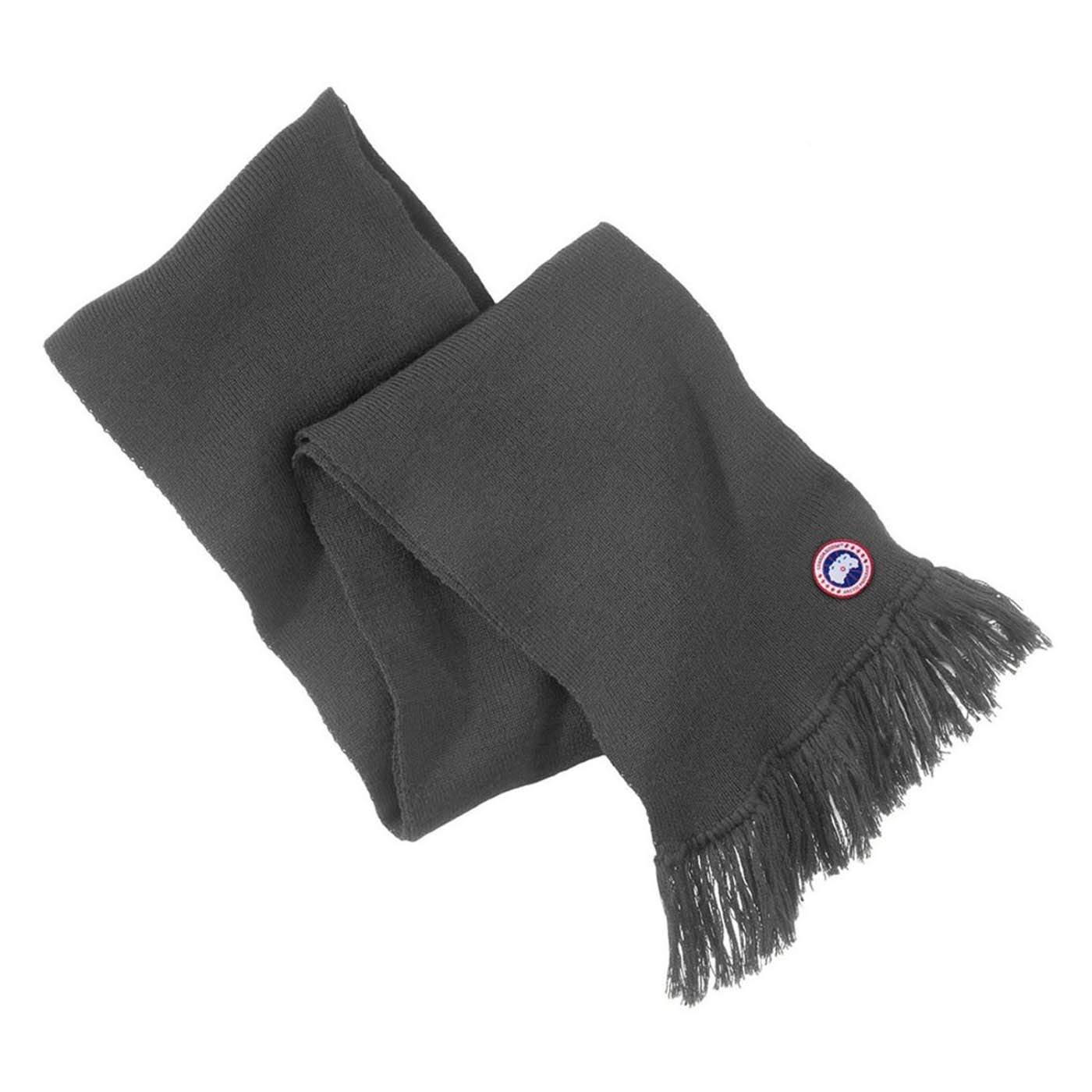 Canada Goose Knit Merino Wool Tassel Scarf Grey 5263L One Size