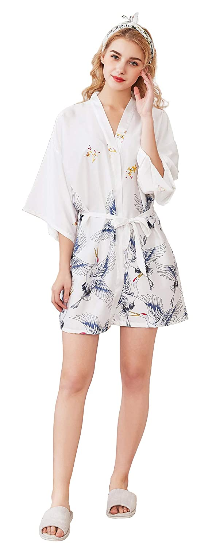 TALLA L. Cliont Pijama lencería Kimono Corto de satén de para Mujer Batas Cortos Lenceria