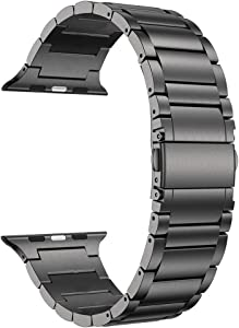 LDFAS Compatible for Apple Watch Band 40mm 38mm, Solid Stainless Steel Metal Link Bracelet Bands Replacement for iWatch Strap Compatible for Apple Watch SE Series 6/5/4/3/2/1, Space Gray