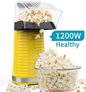 Be1 Electric Hot Air Popcorn Popper Maker for Home Party Kids, No Oil Needed, High Efficiency, Healthy Snack and Less Calories, DIY Your Own Taste-Yellow