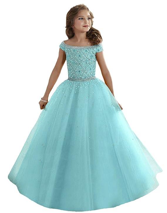 Amazon.com: Baoji Girls\' Bateau Crystal Floor Length Pageant Gowns ...