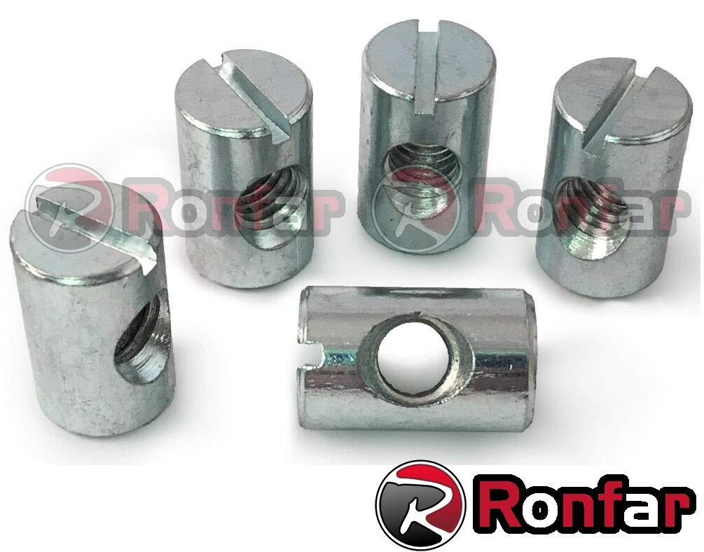 RONFAR Quermutterbolzen M/öbel-Zylindermutter Kreuz D/übel M6 x 10 x 20 mm 100 st/ück