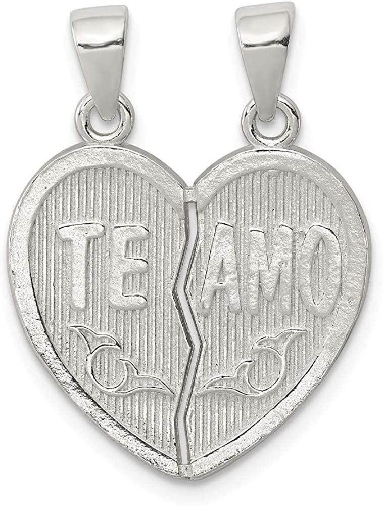 Sterling Silver Polished Te Amo Break Apart Heart Pendant