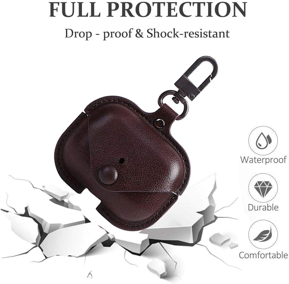 Soft Leather Cover with Keychain Hook Black VOMA Protective Cover for Apple AirPods 3 Wireless Charging Case Headphones EarPods Genuine Leather Case Compatible with AirPods Pro Case