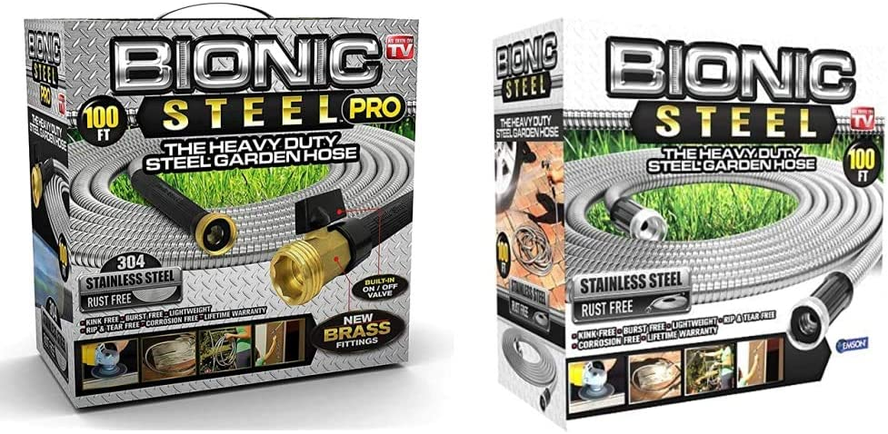 Bionic Steel PRO Garden Hose - 304 Stainless Steel Metal 100 Foot Garden Hose & 100 Foot Garden Hose 304 Stainless Steel Metal Water Hose – Super Tough & Flexible, Lightweight