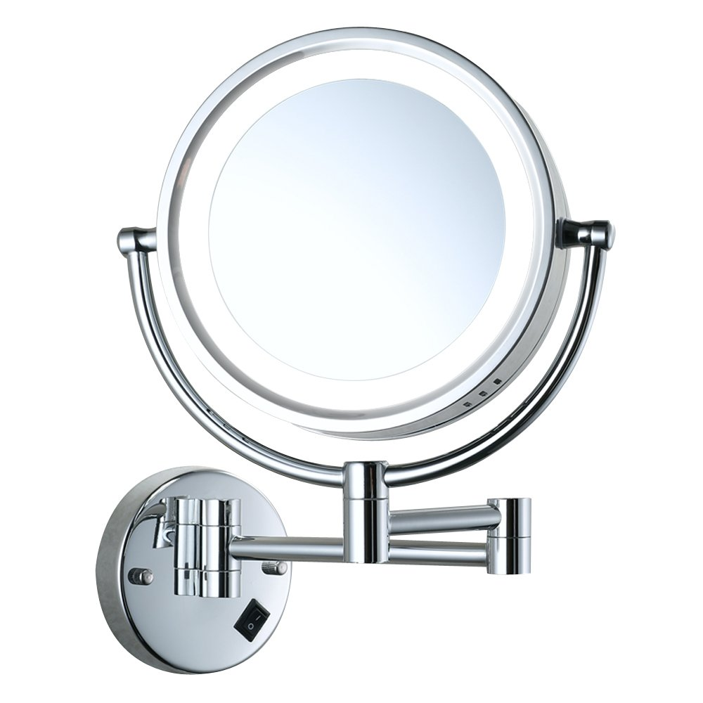 Cavoli Wall Mounted Makeup Mirror with LED Lighted 10x Magnification,8.5 Inches,Bathroom and Hotel, Chrome Finish,Made of Brass by Cavoli (Image #2)
