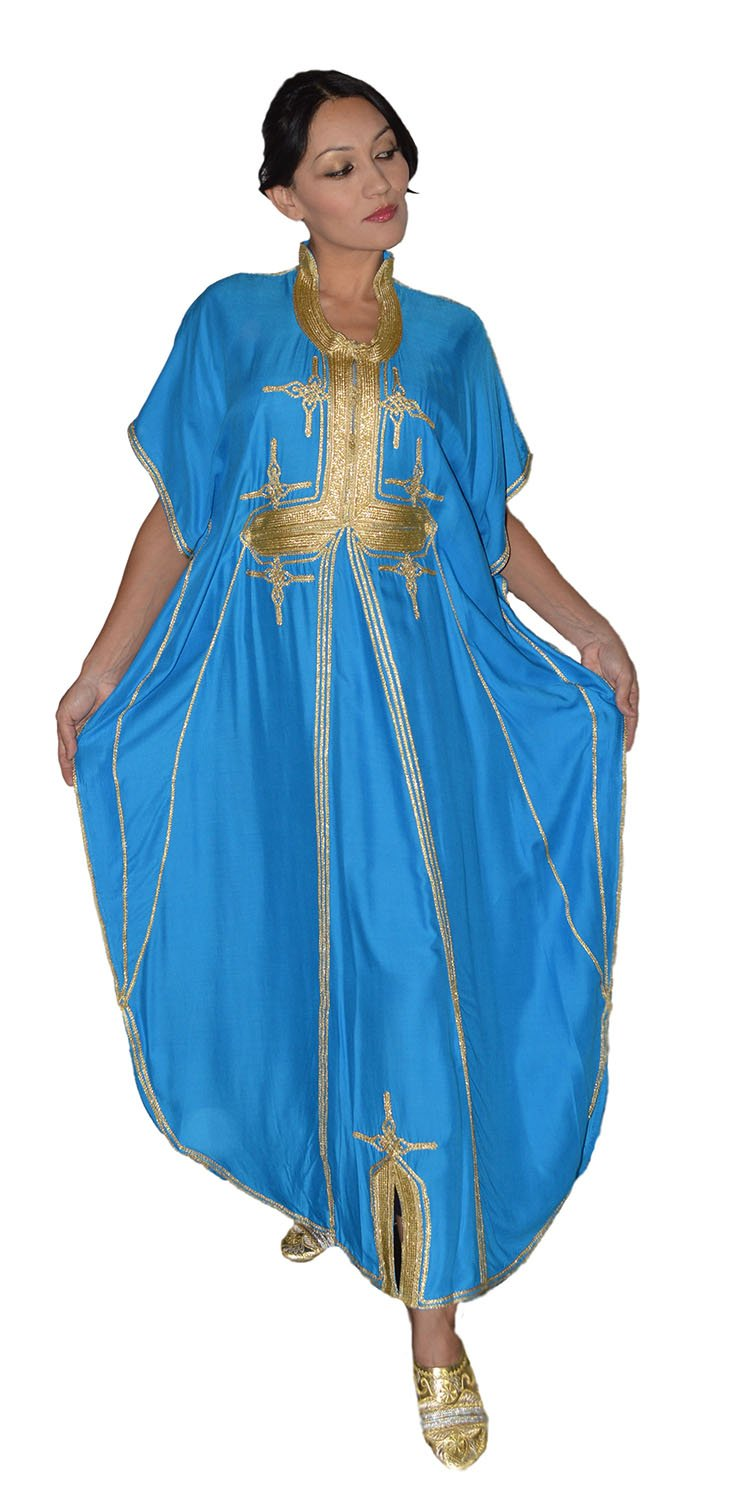 Moroccan Caftan Hand Made Breathable Cotton with Gold Hand Embroidery Long Light Blue