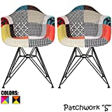 2xhome – Set of Two (2) – Multi-Color – Modern Upholstered Armchair Fabric Chair Patchwork Multi-Pattern Black Wire Leg Eiffel Dining Room Chair with Arm for Living Room Dining Room Review