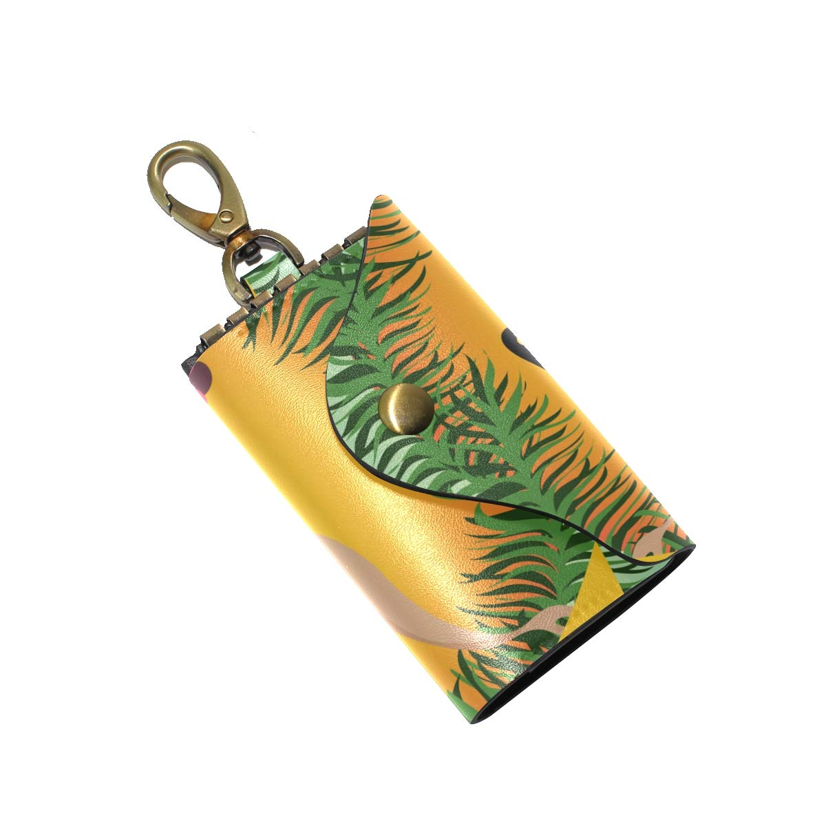 KEAKIA Hawaiian Aloha Hula Dancing Girl Leather Key Case Wallets Tri-fold Key Holder Keychains with 6 Hooks 2 Slot Snap Closure for Men Women
