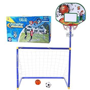 MRKE 2 EN 1 Canasta Baloncesto + Portería de fútbol para Niños ...