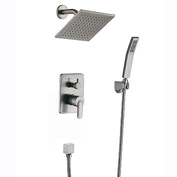 Shower Faucet Brushed Nickel All Metal Split Big Flow Rain Shower