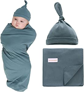 "100% Cotton Knitted Baby Swaddle Blanket with Hat Set, 35""x35"", Newborn Swaddle Wrap, Receiving Blankets, Burping Cloth & Stroller Cover, Perfect for Boys Girls (Dark Green)"