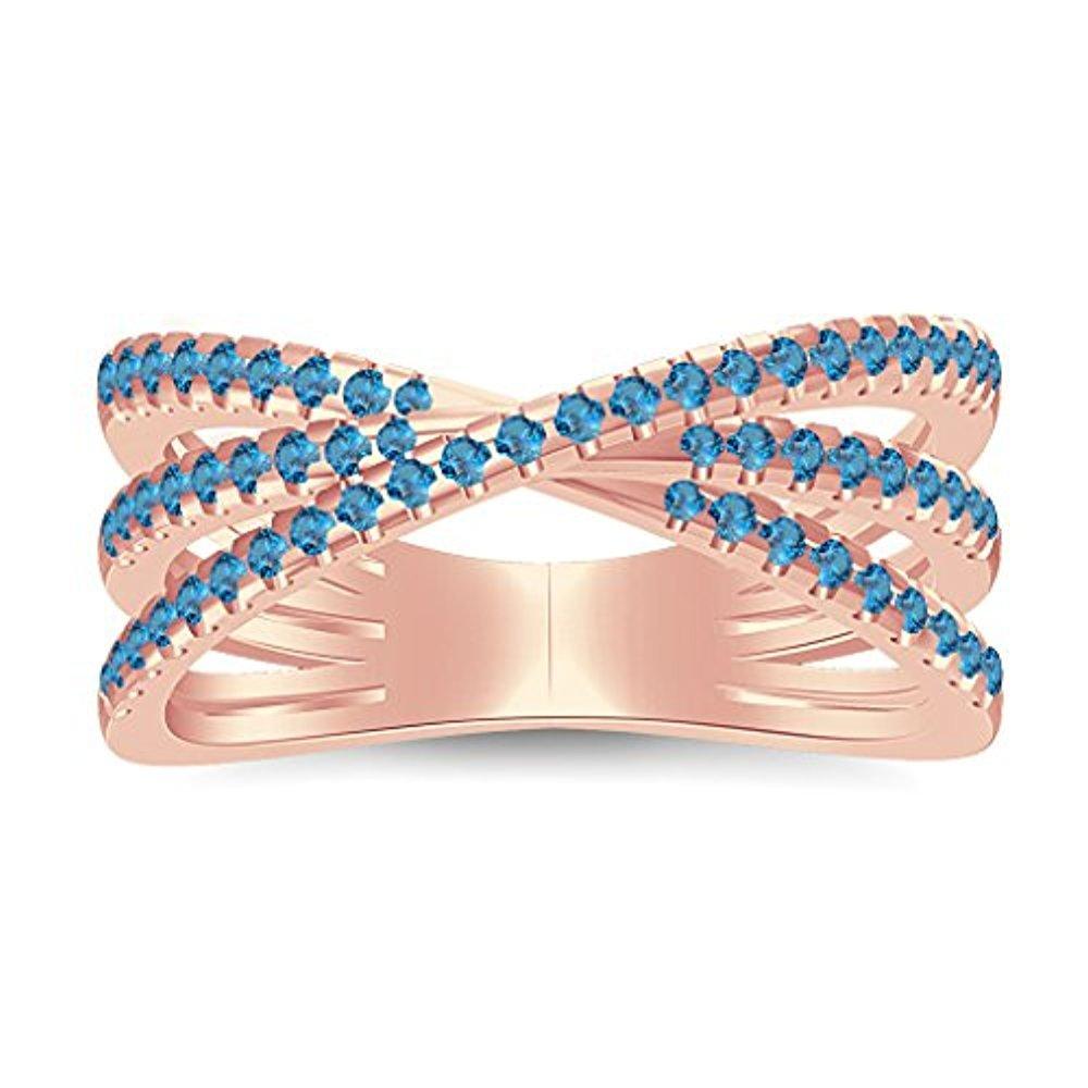 2.10 Ctw 14K Rose Gold Plated Blue Topaz Split Shank Wedding Engagement Ring