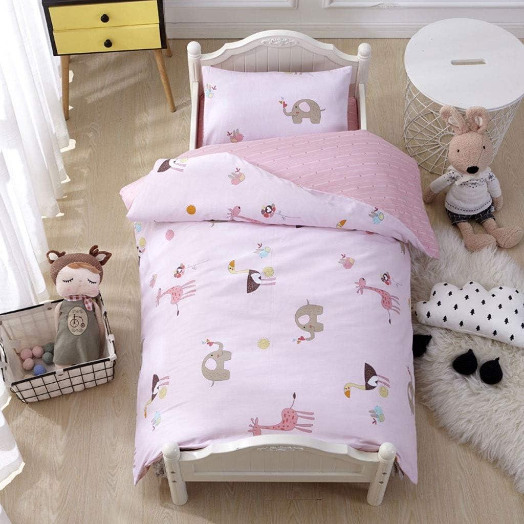 COTTONN Conjunto de edredón de bebé de algodón (edredón + colchoneta + Almohada), Acolchado con algodón, Desmontable (Color : A)