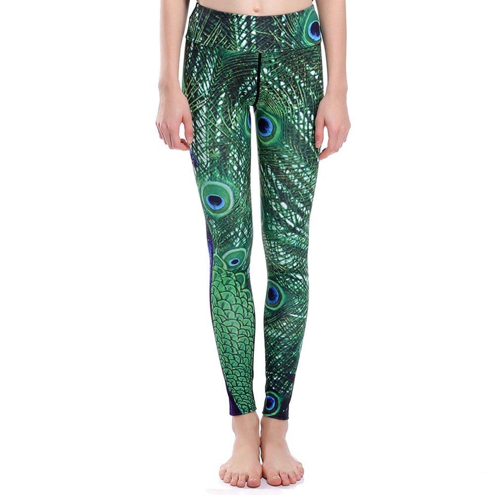 MAOYYMYJK Pantalones De Yoga para Mujer Womens Yoga Pants Pavo Real De Plumas Delgado Caderas Movimiento Transpirable S/úper El/ástico Secado R/ápido Nueve Puntos Pantalones De Yoga