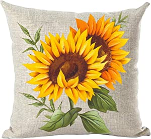ramirar Ink Oil Painting Watercolor Orange Sunflowers Green Leaves Summer Decorative Throw Pillow Cover Case Cushion Home Living Room Bed Sofa Car Cotton Linen Square 18 x 18 Inches