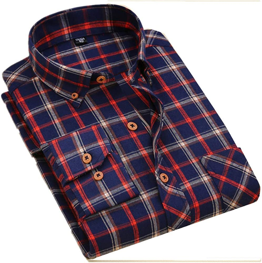 Men Rusted Plaid Long Sleeved Shirt Slim Fit Male Social Business Dress Work Shirt Men Business Shirts Formal US 2XL