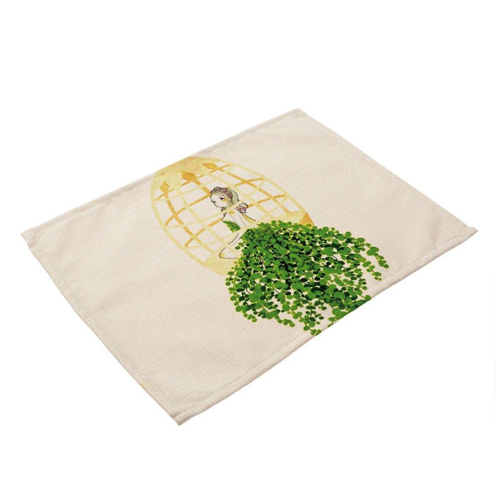 Alamana多肉植物印刷rectangletablewareマットコーヒーティーコースタープレースマットDeocr M 24293-Alamana  5# B07674DZ31