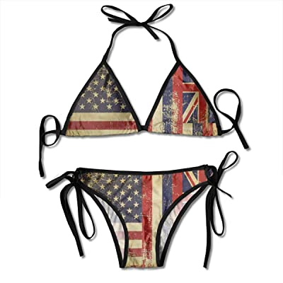 UIUOFA Bikini Sets, Hawaii Half USA Flag Women's Sexy Triangle Bathing Swimsuits Thong Bikini Sets: Ropa y accesorios