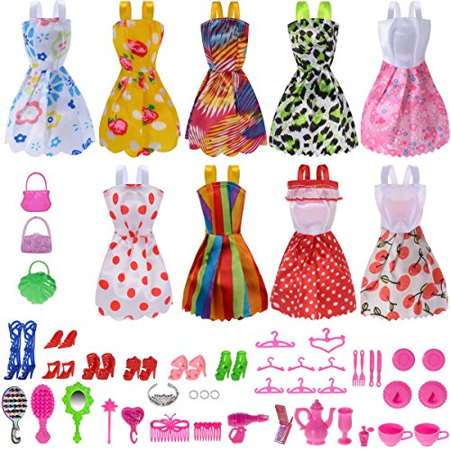 Dress Up Dolls Clothes (Total 50pcs -9 Pack Doll Clothes Party Gown Outfits +41pcs Different Doll Accessories Shoes bags Glasses Necklace Tableware Mirror For for Barbie doll Girl Birthday Gift)