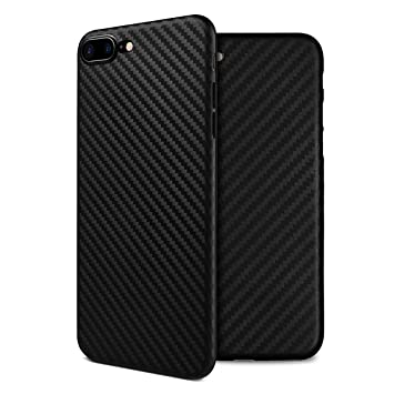 watch f5e1c fcd69 doupi UltraSlim Cover for iPhone 8 Plus / 7 Plus (5.5 inch) Carbon Fiber  Look Feather Light Skin Protective Bumper Shell Hardcase, black